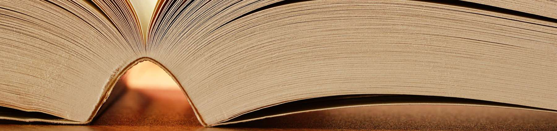 close up of an open book spine