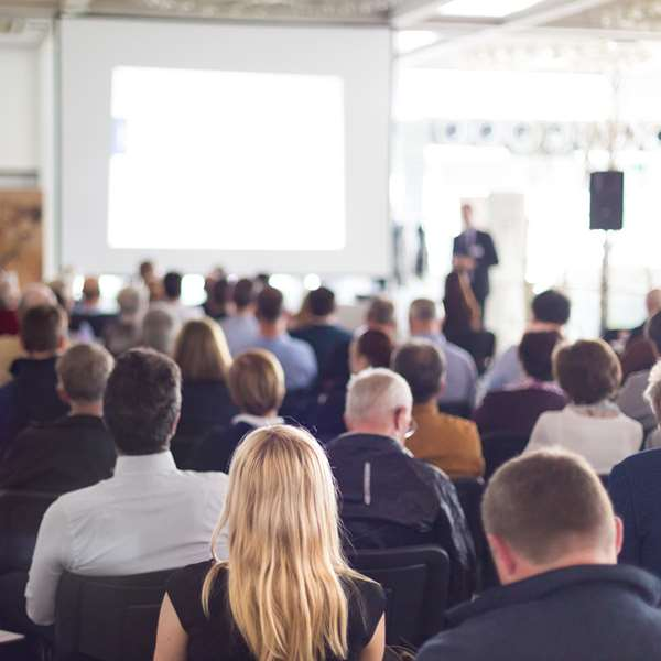 overlooking a crowd during a large presentation