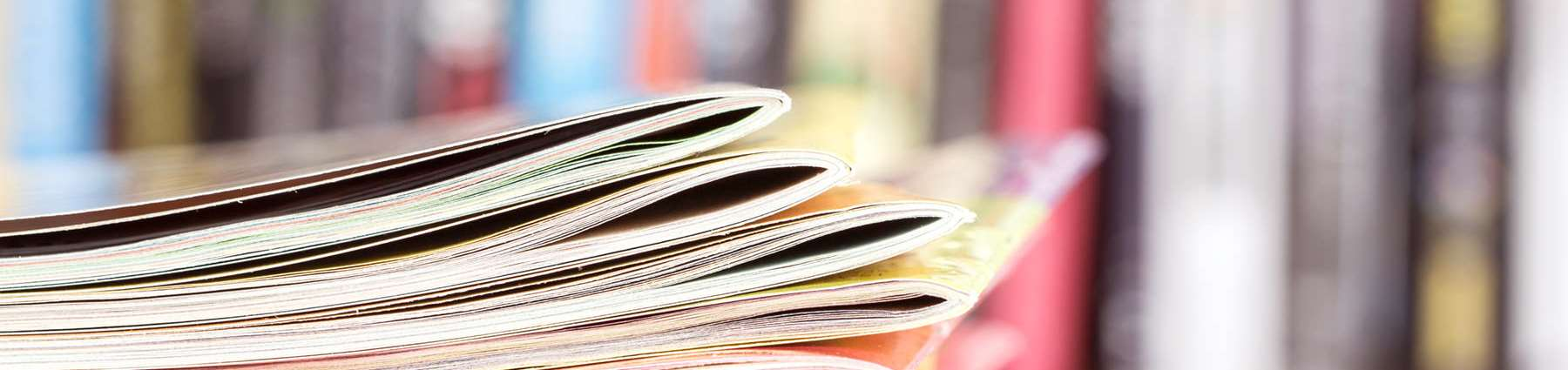 close up of stack of magazines